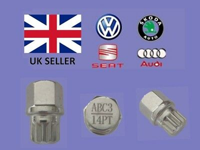 Audi Vw Seat Skoda Locking Wheel Nut Key  ABC 3 Type 14 Splines