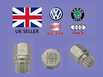 Audi Vw Seat Skoda Locking Wheel Nut Key  ABC 6 Type 17 Splines