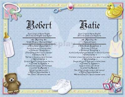 Baby Twins Boy or Girl Personalized First Name Meaning Shower Gift