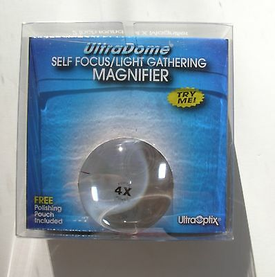 ULTRA DOME Light Gathering/Self Focus 4X Magnifier 2 inch Ultra Optix Nib/Nwt