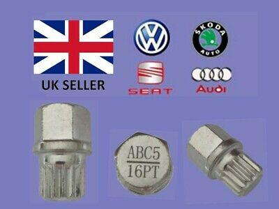 Audi Vw Seat Skoda Locking Wheel Nut Key  ABC 5 Type 16 Splines