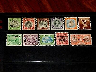 Niue stamps for sale - 11 mint hinged early stamps - great group !!