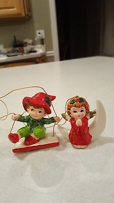 Two Lefton Porcelain Ornaments Angel on Moon and Elf on Swing Rare!