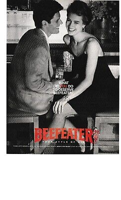 1988 - Beefeater Gin . Flirty Couple At The Bar - Vintage Print Ad