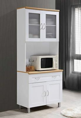 Kitchen Hutch Countertop Microwave Cart White China Storage Cabinet Buffet  Shelf