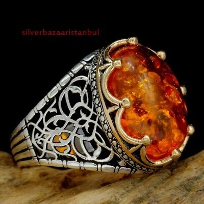 Turkish jewelry 925 Sterling Silver special amber stone Mens ring ALL SİZE us 3