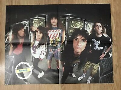 Vintage 1980s Anthrax Lizzy Borden double sided Pinup Poster 15 x 21