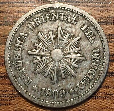 1909 A Uruguay 2 Centesimos Coin About Uncirculated Condition