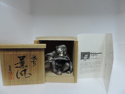 Signed Japanese Silver Plated Monkey Holding A Peach Sculpture By Omori Japan
