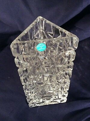 "Tiffany & Co Sierra Square Cut Large Vase 7.5"" Tall Label / Acid"