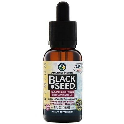 Amazing Herbs Organic Black Seed Oil 100% Cold Pressed High Quality 30Ml