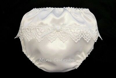 Baby Girls White Satin Knickers With Guipere Lace & Rosebud M 3-6m