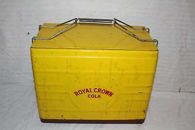 Vintage 1950's RC Royal Crown Cola Soda Pop Picnic Cooler Embossed Metal Sign