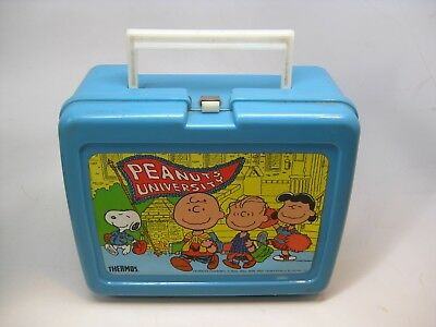 Rare Vintage 1965 Peanuts University Blue Plastic Lunch Box with Thermos Snoopy