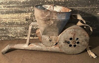 Rare & Unusual Antique Vtg Early Hand Crank Galvanized Seeder Farm Decor Corn