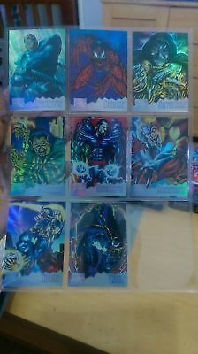 Rare 1995 Marvel Masterpieces Complete 8 Card Holo flash Chase Set Nm/Mint