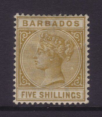 Barbados Sg 103; 5/-Bistre Wmk Crown CC,Mint.cv £160