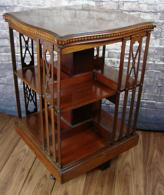 Edwardian Mahogany Revolving Bookcase Wallis & Co London (Courier Delivery)