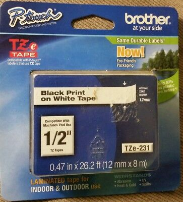 """Genuine Brother TZe231 1/2"""" 12MM Black on White laminated tape TZ OEM P-Touch"""