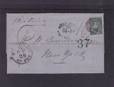Victoria 1853 entire letter to New York with Imperf 3d Half-length.**RARE**