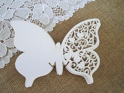 60 x Butterfly name place cards White with pearl sheen Wedding Supplies