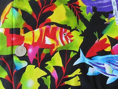 STUNNING Vintage MULTI-COLORED FISH On BLACK 1980's COTTON Fabric-over 2 yd