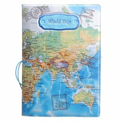 Cover Leather Cartoon Travel World Map Passport Card Package Card Sets Case