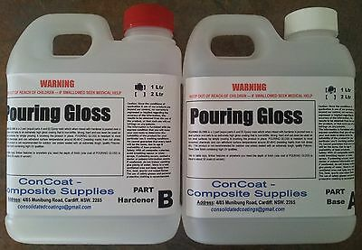 CLEAR Epoxy Pour on Gloss. Table Top Coating - 2 lt. UV Stabilised (FREE FREIGHT
