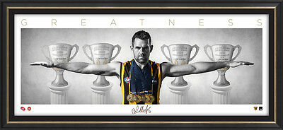 """Luke Hodge Signed Hawthorn Mini Wings Official AFL Print Framed """"GREATNESS"""" Norm"""