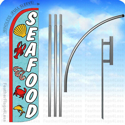 Seafood Full Curve Swooper Windless Advertising Flag Fish Lobster Crab Mariscos