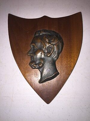 VIntage Abraham Lincoln Plaque With Brass Bronze Bust