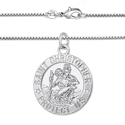 925 Sterling Silver Mens Womens Chain Curb Link Chain Necklace Saint Christopher