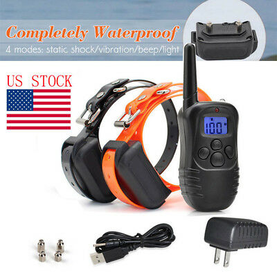 US Waterproof Rechargeable Remote LCD Electric Dog Training Shock Collar US PLUG