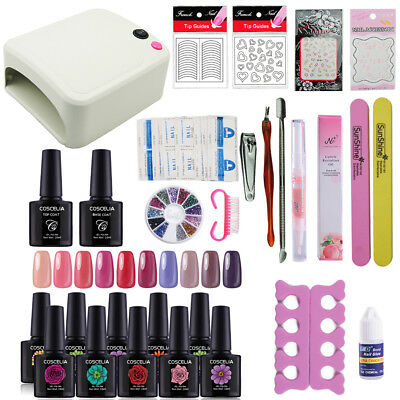 Coscelia Professional Gel Nail Polish 10 Colour Complete Starter Kit 36W Lamp
