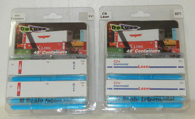 4 x Deluxe Innovations N Scale NYK/CN Laser 48' Corrugated Containers