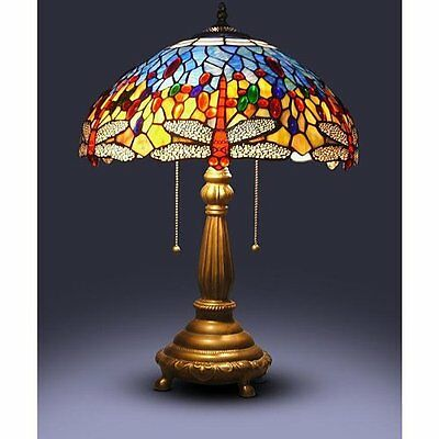 25u0027u0027 Tiffany Style Red Dragonfly Table Lamp Stained Glass Desk Light  Handcrafted