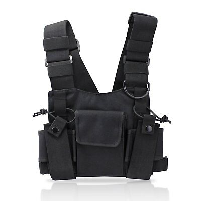 Radio Chest Harness Front Pack Pouch Holster Vest Rig for Two Way Walkie Talkie