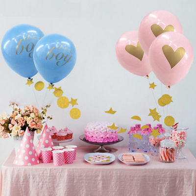 12pc Baby Shower Balloon With Gold Glitter Writting Its a Girl It's a Boy Ballon
