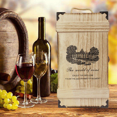 Wooden Dual Wine Bottle Box Case Craft Christmas Birthday Wedding Party Gift AU