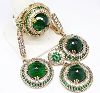turkish handmade 925 sterling silver green emerald stone ladies set ALL SİZE us