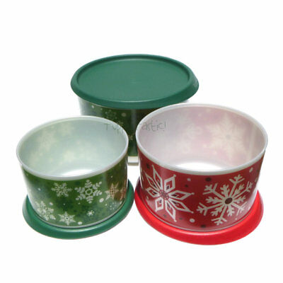 Tupperware New Christmas Snowflake Instant Canister Set green red pearl white