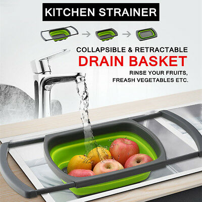 Over-the-Sink Collapsible Colander Silicone Kitchen Retractable Strainer Basket