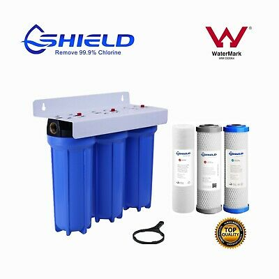 "Triple Whole House Water Filter System 20"" x 2.5"" 3 Stages 1"" Port  WaterMark"