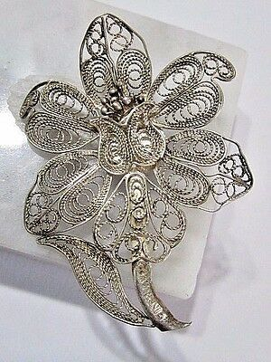 Silver Tone Filigree Wire Flower Vintage Signed European Silver Cannetille