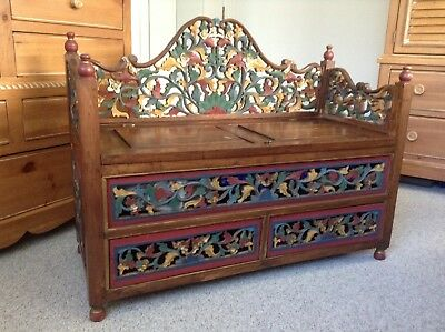 Antique Bench/Chest With Drawers Handmade Wood Carved Flowers Green/Red/Gold