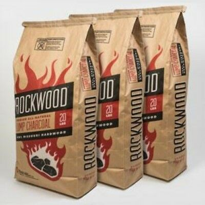 Rockwood Lump Charcoal - THREE Bags, 20# each 100% MO Hardwood