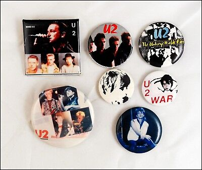 U2 Lot Of 7 80's Buttons Pins / Bono / War / The Unforgettable Fire