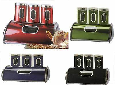 Signature Stainless Steel Set Bread Bin Sugar Tea Coffee Pot Jar Canister