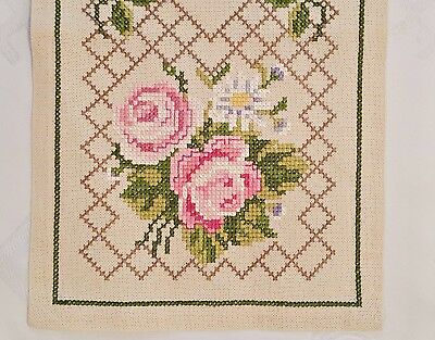 "VINTAGE ROSES HAND EMBROIDERY PINK GREEN IVORY COTTON TABLE RUNNER SIZE:10""x33"""