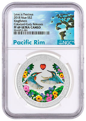 2018 Niue Love is Precious Kingfishers 1 oz Silver $2 NGC PF69 UC ER SKU52030
